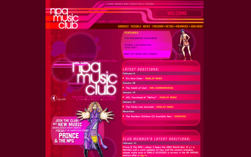 Prince's Official Site, the NPG Music Club