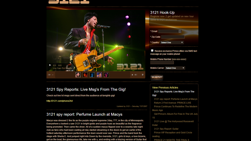 Prince's Official Site 3121.com