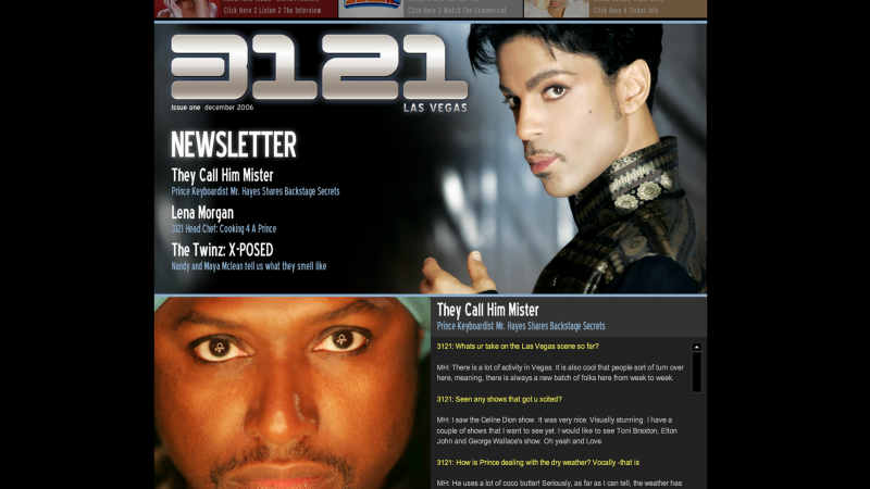 Prince's Official Site, 3121.com