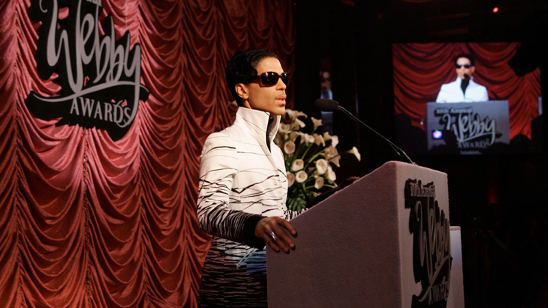 Prince accepts his Lifetime Achievement Webby Award